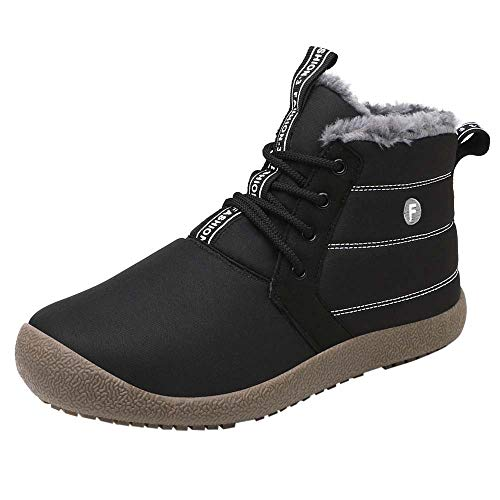 Kauneus  Winter Snow Boots, Mens Women's Water-Resistant Outdoor Boots Fur Lining