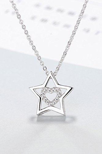 s925 Silver Diamond Key Women Girls Stars Hollow Fashion Chain Affiliated Star Necklace Pendant Chain Clavicle