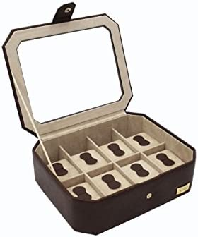CORDAYS - Estuche Relojero para 8 Relojes con Tapa de Cristal Templado. Organizador de Relojes. Hecho a Mano. Color Marrón CDM-00036: Amazon.es: Joyería