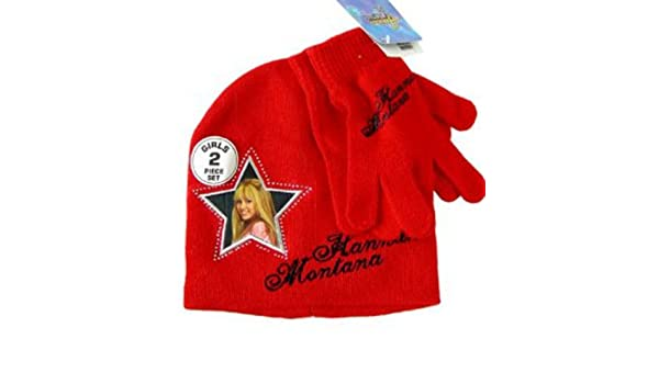 Red Disney Hannah Montana 2pc Beanie and Glove Set for Girls