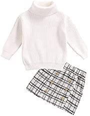 RSRZRCJ Kids Toddler Baby Girl Fall Winter Outfit Long Sleeve Knit Turtleneck Sweater Top Plaid Mini Skirt 2PCS Clothes Set