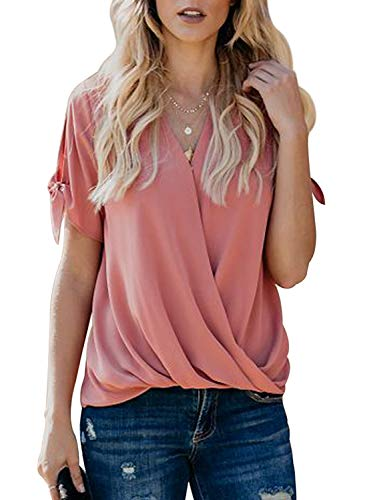 Itsmode Chiffon Blouses for Women Short Sleeve Ladies Cold Shoulder Bow Tie V Neck Wrap Front Tunic Flare Shirts Loose Tops Pink Medium