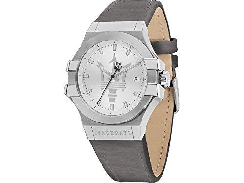 Potenza Maserati watch R8851108018 Men Silver Leather Calendar