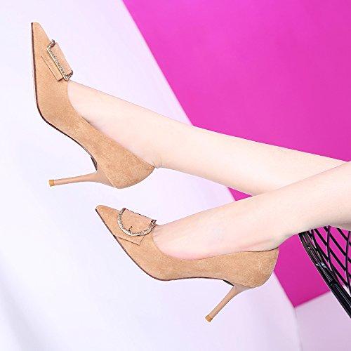 GTVERNH-Koreanische Metall Gürtelschnalle Einem Flachen Mund Hochhackige Schuhe 8.5Cm Designer Designer Designer - Schuhe Schuhe Und Alle Treffer. 36 Gelblich - Reis c217c7