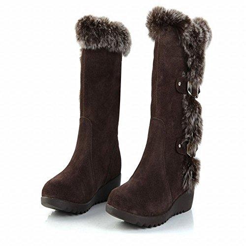 Mostra Mid Faux Zeppe Shine Fashion Boots vitello Womens Brown Nubuck fur ZP6xnP