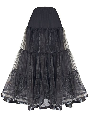 Shimaly Women's Floor Length Wedding Petticoat Long Underskirt for Formal Dress (S-L, Black)