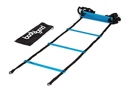BodyGood Pro Athlete Grade Speed Agility Ladder - Extra-Long, 20 Foot Quick Ladder with Durable Flat Rungs for Easy Set Up and Consistent Workout. Includes Free Carrying Bag and Online Training Video