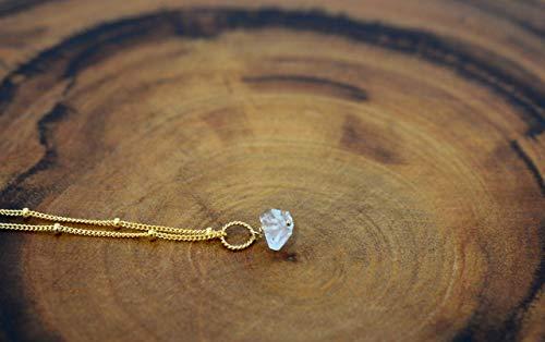 Raw Herkimer Diamond necklace 14K Gold Filled, Satellite chain