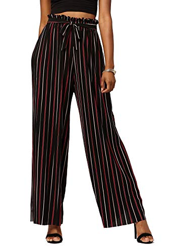Conceited Women's Paper Bag Waist Wide Leg Pleated Palazzo Pants - Paper Bag - Top of The Line - Plus Size - - Bag Medium Top