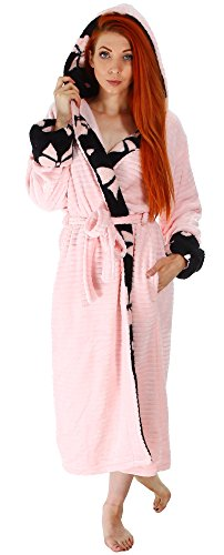 Simplicity Women's Soft Plush Hooded Bathrobe Kimono Robe with Hoodie,Pink