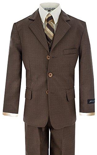Johnnie Lene Big Boy's Formal Dress Suit JL5016 (8, Brown)