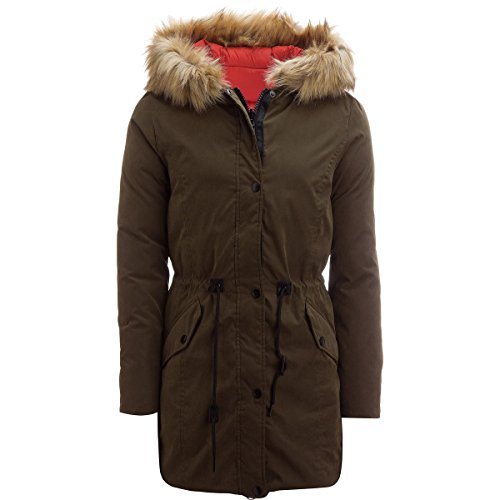 Stoic Montauk Reversible Insulated Parka - Women's Olive/Burnt Orange, L - Reversible Down Parka