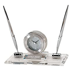 Arkansas Little Rock Executive Glass Clock and Pen Stand 'Little Rock Trojans Flat Engraved'