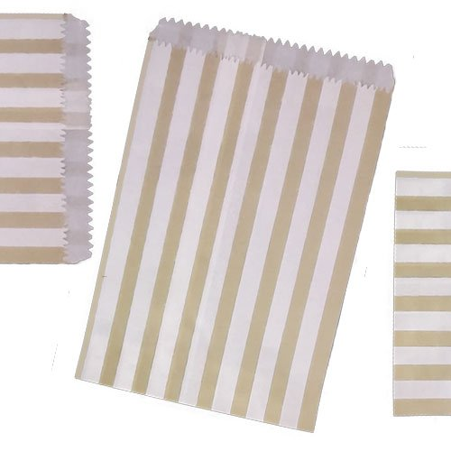 200 SMALL Gold & WHITE STRIPE PAPER BAGS SIZE 5 X 7 CANDY SWEET GIFT JeeJaan®
