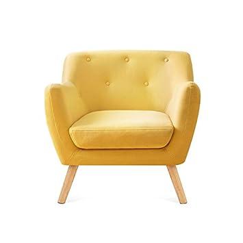 idmarket fauteuil scandinave en tissu jaune moutarde - Fauteuil Scandinave Moutarde