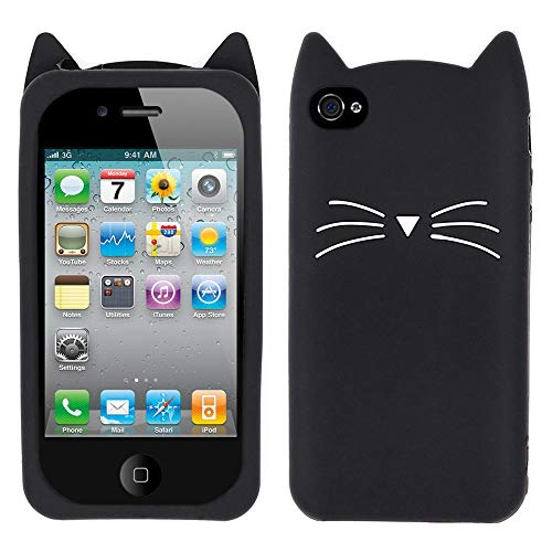 (Yonocosta iPhone 4 Case, iPhone 4S Case, Funny 3D Cute Cartoon Whisker Cat Kitty Case, Soft Rubber Silicone Slim Fit Shockproof Back Cover for iPhone 4 / iPhone 4S (Whisker Cat Black) )