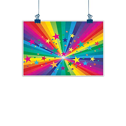 Sunset glow Simple Life Minimalist Abstract,Abstract Rainbow and Stars Confetti Rays Striped Celebrating Happy Times Theme,Multicolor for Living Room Bedroom 20