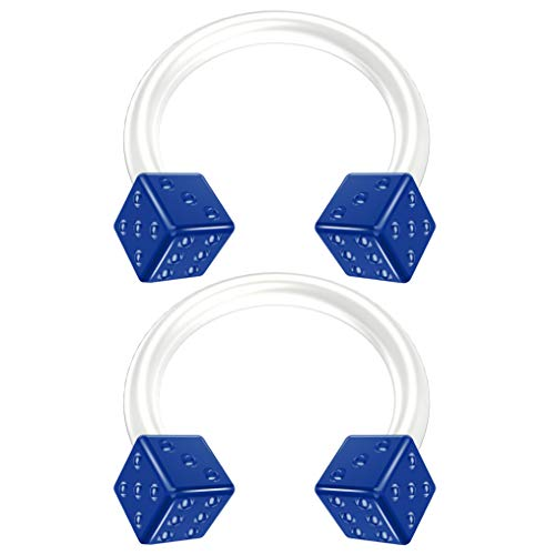 - 2pc 16g Blue Dice Flexible Bioflex Circular Barbell Horseshoe Septum Ring Bioplast Piercing 8mm