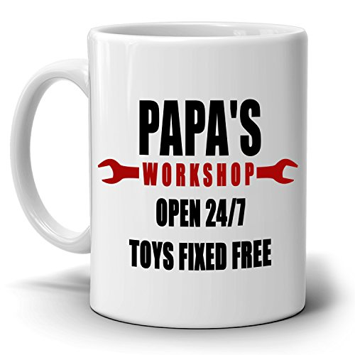 Funny Birthday Gifts for Dad Mug Papa's Workshop 24/7 Toys Fixed Free, Printed on Both - Co Uk Gift Voucher Amazon