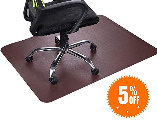 (Dark Cherry Office Chair Mat and Under Computer Desk Pad for Hardwood Floor and Heavy Appliance, Brown Anti-slip 47x35