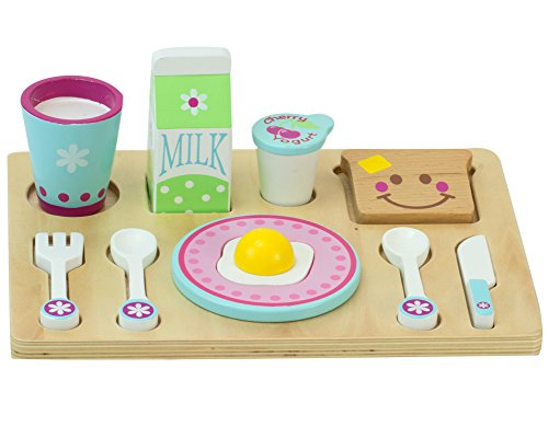 Childrens Wooden Play Food Set, Breakfast Set with Toast, Eggs, Milk, Tray & More! Wood Play & Pretend Food Breakfast Set