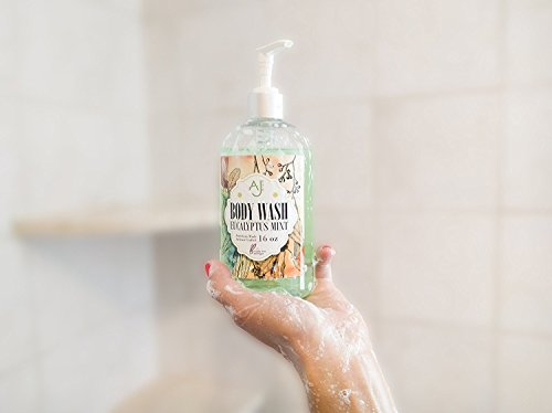 AJ Pure Natural Body Wash - Organic Ingredients - Artisan Crafted - Free Ebook - SLS, Sulfate, Paraben and Phenoxynethanol Free - Made in USA - Eucalyptus Mint