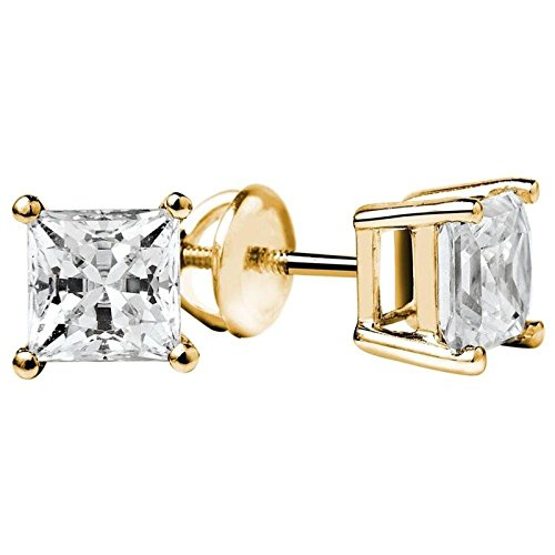 (NYC Sterling Unisex Gold Plated Princess Cubic Zirconia Screw Back Stud Earring)