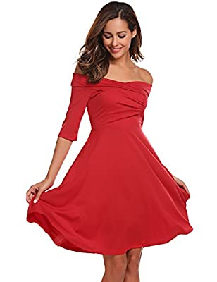 Finejo Women's Elegant Vintage Ruched Off Shoulder Party Cocktail Skater Dress