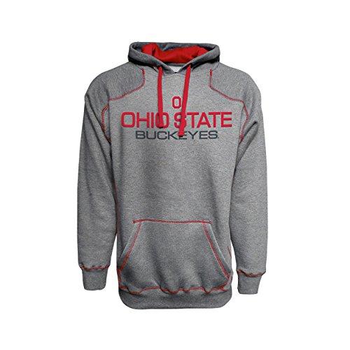 Bonfire Fleece Hoodie - J America NCAA Ohio State Buckeyes Mens Premium Hoodie Pullover Sweatshirt-Heather Grey-Large