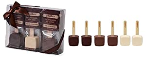 Hot Chocolate Sticks - 6 Pack Variety Gift Box - Dark, Milk, Vanilla White Chocolate