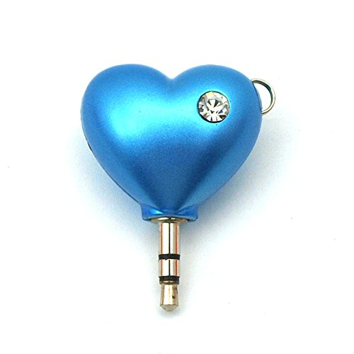 Headphone Splitter 2-Way Heart Shape Audio Splitter 3.5mm Jack Plug with Keychain Compatable for iPhone iPad Samsung Android Handphone (Blue)