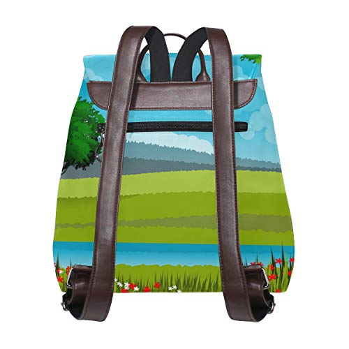 Landskap natur moln träd ryggsäck handväska mode PU-läder ryggsäck ledig ryggsäck för kvinnor