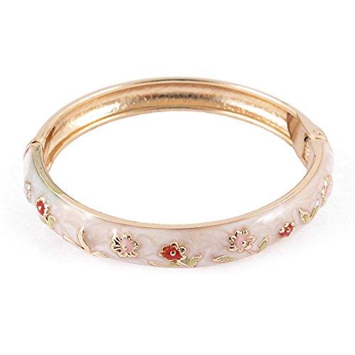Enamel Hinged Cuff (Spring Closure Flower Enamel Round Bracelet Bangle Jewelry Gift)