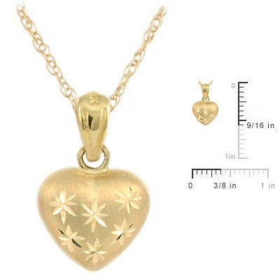 15 Inch Kids 14K Yellow Gold Puffed Heart Pendant Necklace For Girls
