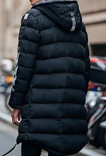 Winter Coat Mens M Zip Parka Black Solid amp;S Thick Hoodie Overcoat amp;W v4041
