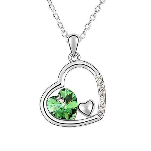 Xingzou Girls Womens Heart Pendant Necklace,Green Love Crystals From Swarovski, 18K White Gold Plated