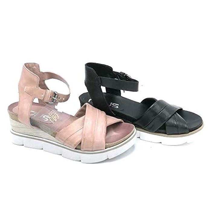 Mjus 866003 Sandalo Pelle Zeppa Media Rosa Nero Cinturino - Taglia Scarpa 39 Colore