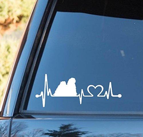 K1137 Lhasa Apso Dog Heartbeat Lifeline Decal Sticker