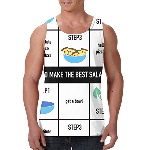 Volunteer Men's Make The Best Salad Ever Bowl Pizza Muscle Tee Tank Top S Black (Best Potato Recipe Ever)