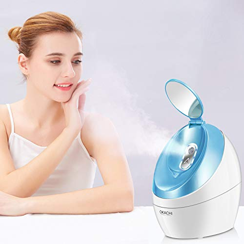 OKACHI GLIYA Facial Steamer Nano Hot Steam Face Spa Device Ionic Face Steaming Machine for Home Facials Personal Moisturizing Humidifier Vaporizer for Skincare Beauty (Blue)