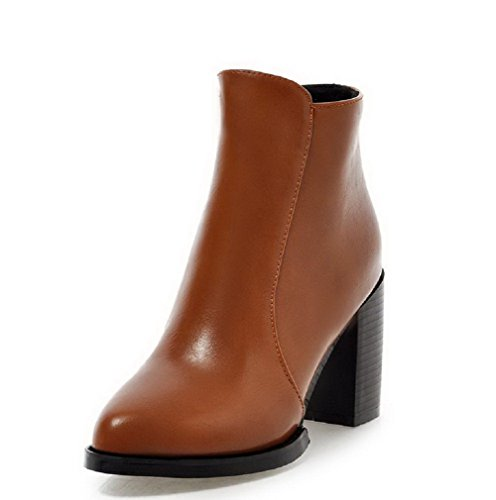 Boots Zipper High Heels Brown Closed Top Allhqfashion Low Toe Women's Pointed Solid IyqKv1wf