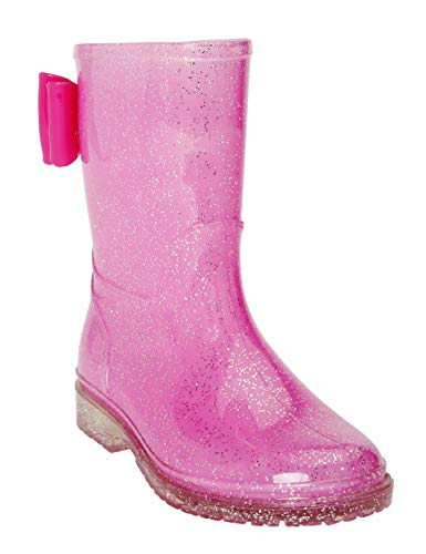 JELLY BEANS Girls Glitter Rubber Rain Boots 100% Waterproof with Bow Pink Size - Bean Jelly Girl