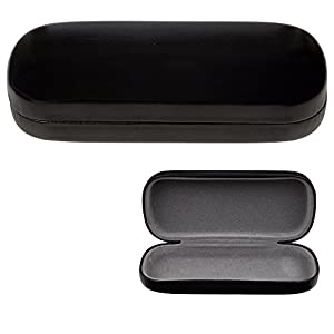 Glasses Case, Hard Shell Protects & Stores Sunglasses, Reading Eyeglasses and Most Eyewear, Suitable for Men, Women & Kids, -Black- By OptiPlix