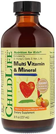 ChildLife Essentials Multi Vitamin and Mineral Natural for Infants, Babys, Kids, Toddlers, Children, and Teens, Orange/Mango Flavor, 8 Ounce