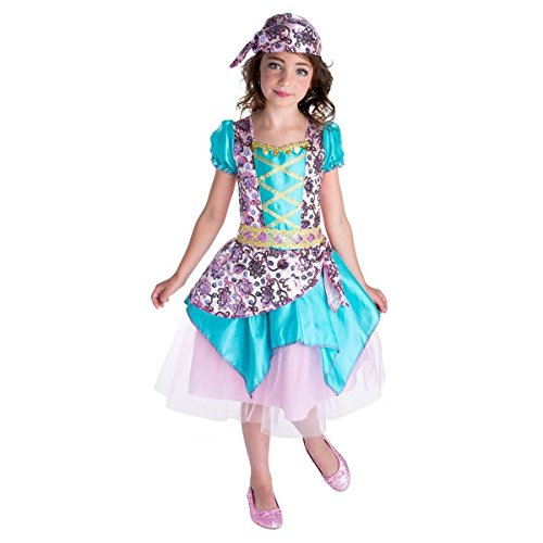 Girls Fortune Teller Gypsy Costume Dress up Headscarf Sequins (Small 4/6)