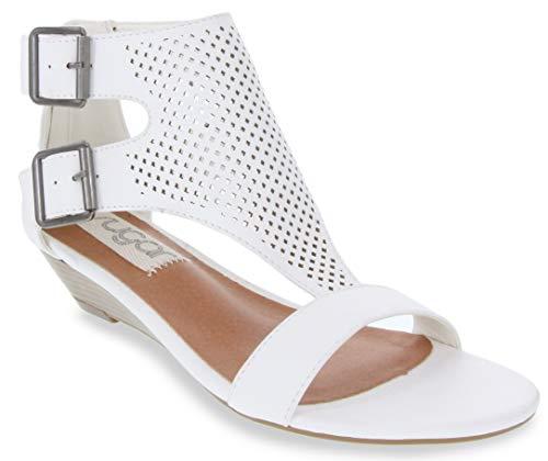 Sugar Women's Wigout Demi Wedge Sandal 8.5 White Perf