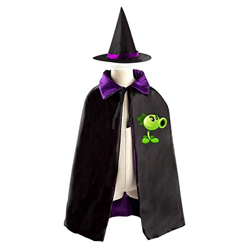 Children Plants vs. Zombies Peashooter Halloween Christmas Cape With Hat Witch Cloak Costume Props
