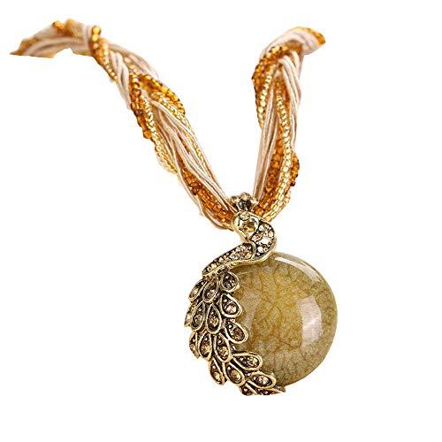 FEDULK Bohemian Jewelry Womens Tassel Rhinestone Peacock Gem Ethnic Style Pendant Statement Necklace(Yellow)