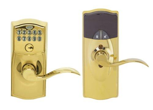 Schlage LiNK Wireless Keypad Entry Lever Add-on Lock, Bright Brass