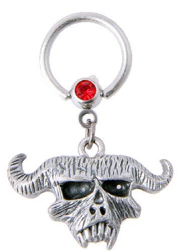 JewelryVolt 14g Surgical Steel Belly Ring with Heavy Metal Demon Skull and Red Gem - Pair